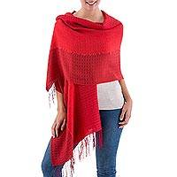 Alpaca and silk shawl, 'Pomegranate' - Silk and Alpaca Blend Handwoven Shawl in Shades of Red