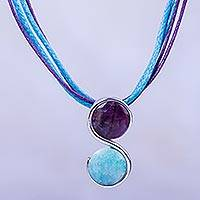 Amethyst and amazonite pendant necklace, 'Beautiful Aquarius' - Amethyst and Amazonite Zodiac Aquarius Necklace from Peru