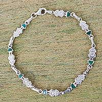 Chrysocolla link bracelet, 'Andean Force' - Artisan Crafted Silver and Chrysocolla Link Bracelet