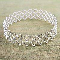 Silver bangle bracelet, 'Boldly Elegant - Silver 950 Handcrafted Chain Mail Pattern Bangle Bracelet