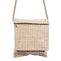 Cotton shoulder bag, 'Whispering Sand' - Handwoven 100% Undyed Natural Cotton Traditional Andean Morr