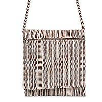 Cotton shoulder bag, 'Whispering Earth' - Handwoven Undyed Natural Cotton Shoulder Bag from Peru
