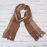 Cotton scarf, 'Earth Warmth' - Hand Woven Brown Cotton Scarf Unisex Style from Peru