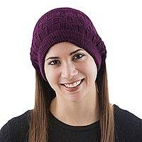 100% alpaca ear warmer, 'Cubic Maroon' - Maroon Earwamer Knitted Alpaca Wool Winter Accessory