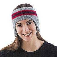 100% alpaca ear warmer, 'New Inca Grey' - 100% Alpaca Ear Warmer in Grey and Red from Peru