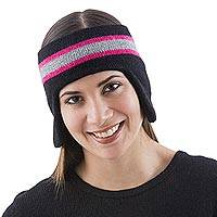 100% alpaca ear warmer, 'New Inca Black' - Black Alpaca Ear Warmer with Grey and Pink from Peru