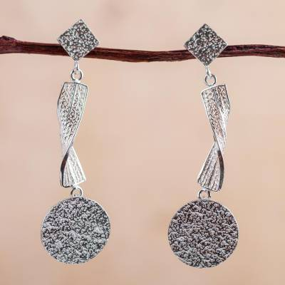 Sterling silver dangle earrings, Textural Dance