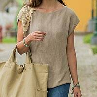 Cotton sweater, 'Details' - Beige Sweater Blouse Knitted by Hand 100% Cotton from Peru