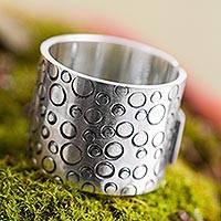 Sterling silver band ring, 'Circles' - Wide Sterling Silver Band Ring Handcrafted in Peru