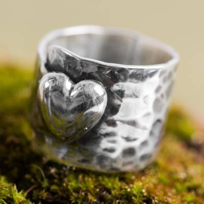 Sterling silver cocktail ring, Heartfelt Hug