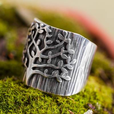 Sterling silver band ring, Tree in Spring