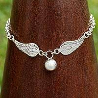 Sterling silver charm bracelet, 'Angelic Gift' - Sterling Silver Charm Bracelet with Angel Wings