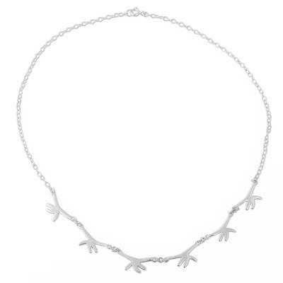 Chain Necklace of Helping Hands in 925 Sterling Silver