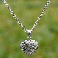 Sterling silver heart necklace, 'To Love' - Openwork Heart Sterling Silver Necklace from Peru