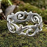 Sterling silver flower band ring, 'Blossoming Wreath' - Floral Band Ring Crafted in Sterling Silver from Peru