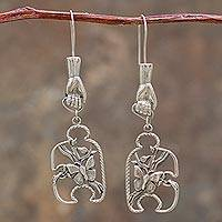Sterling silver dangle earrings, 'God's Hand in Eden' - Creation Theme Sterling Silver Earrings from Peru