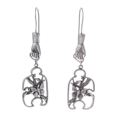 Creation Theme Sterling Silver Earrings from Peru