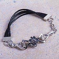 Sterling silver cord bracelet, 'God's Hand in Eden' - Black Cord Creation Theme Sterling Silver Bracelet from Peru