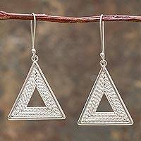 Sterling silver dangle earrings, 'Bold Balance' - Modern Handcrafted Sterling Silver Hook Earrings from Peru