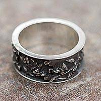 Sterling silver band ring, 'God's Hand in Eden' - Sterling Silver Creation Theme Peruvian Band Ring