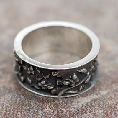 Sterling Silver Creation Theme Peruvian Band Ring