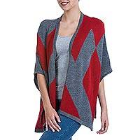 Alpaca blend cape, 'Bold Symmetry' - Alpaca Blend Knitted Cape with Grey and Red Symmetry