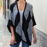 Alpaca blend cape, 'Monochrome Symmetry' - Peruvian Artisan Bold Modern Knitted Open Front Cape in grey