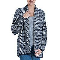 Alpaca blend cardigan, 'Ocean Warmth' - Open Alpaca Blend Long Sleeve Cardigan in Navy Blue and Grey