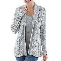 Alpaca blend cardigan, 'Classic Chic' - Versatile Light Grey Cardigan in Soft Alpaca Blend from Peru