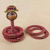 Dried gourd desktop ring toss set, 'Napoleon Owl' - Napoleon Owl Dried Gourd on Desktop Ring Toss Handmade Set