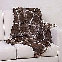 Alpaca blend throw, 'Chocolate Plaid Boucle' - Alpaca Blend Handwoven Brown Plaid Boucle Throw