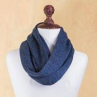 100% alpaca infinity scarf, 'Sweet Blue Nuances' - Knitted Blue Infinity Scarf in Soft 100% Baby Alpaca