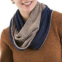 100% alpaca reversible infinity scarf, 'Sea and Sand' - 100% Baby Alpaca Blue and Beige Reversible Infinity Scarf