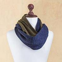 100% alpaca reversible infinity scarf, 'Lake and Forest' - Blue and Green Reversible 100% Baby Alpaca Infinity Scarf