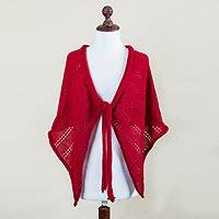 100% alpaca short cape, 'Cozy in Crimson' - Red Andean Alpaca Knitted Short Cape from Peru