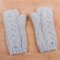 Alpaca blend fingerless mitts, 'Cloud Grey Braid' - Light Grey Andean Alpaca Blend Hand Knitted Fingerless Glove