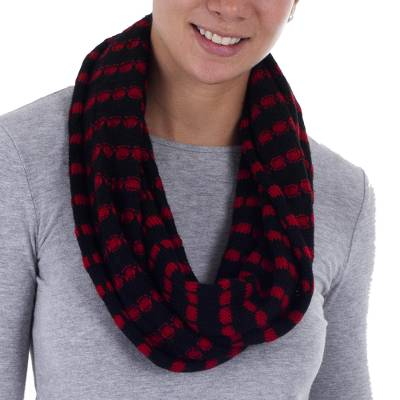 Alpaca blend infinity scarf, 'Parallel Black' - Knit Alpaca Blend Infinity Scarf in Red and Black Stripes