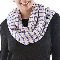 Alpaca blend infinity scarf, 'Parallel Beige' - Beige and Purple Alpaca Blend Knit Blend Infinity Scarf