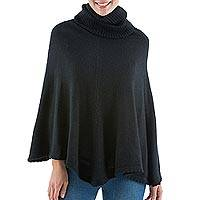 Alpaca blend turtleneck poncho, 'Chachapoyas Night' - Fair Trade Peruvian Alpaca Blend Black Turtleneck Poncho wit