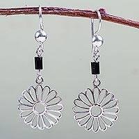Onyx flower earrings, 'Mobile Daisies' - 925 Sterling Silver and Onyx Daisy Dangle Earrings from Peru