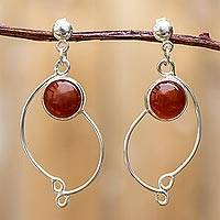 Carnelian dangle earrings, 'Scarlet Energy' - Womens .925 Silver and Carnelian Dangle Earrings from Peru