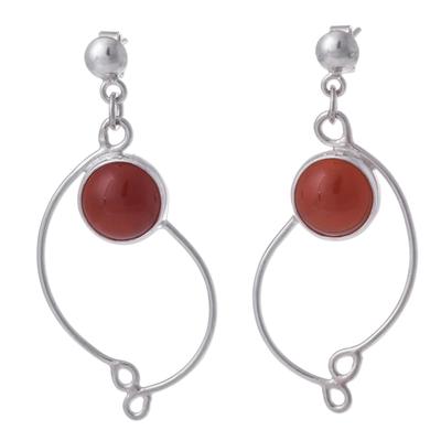 Womens .925 Silver and Carnelian Dangle Earrings from Peru