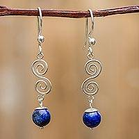 Lapis lazuli dangle earrings, 'Spiraling Earth' - Womens Silver and Lapis Lazuli Dangle Earrings from Peru