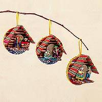 Ornaments, 'Happy Families' (set of 3) - 3 Artisan Crafted Round Ornaments with Andean Figurines