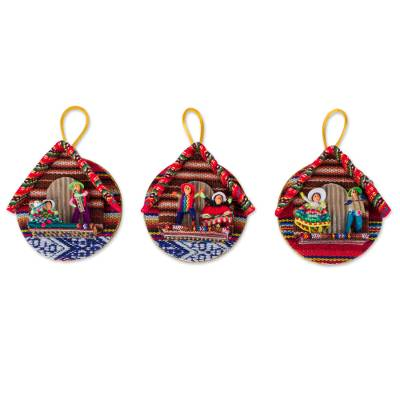 3 Artisan Crafted Round Ornaments with Andean Figurines