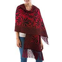 Reversible alpaca blend shawl, 'Crimson Torch' - Reversible Red and Black Andean Alpaca Blend Shawl