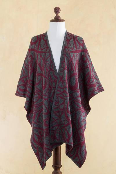 Reversible alpaca blend ruana cape, 'Crimson Abstract' - Red and Grey Alpaca Blend Reversible Ruana Cape from Peru