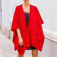 Reversible alpaca blend ruana cape, 'Cherry Leaf' - Reversible Red Alpaca Blend Andean Ruana Cloak