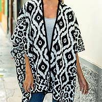 Reversible alpaca blend ruana cape, 'Black and White Tile' - Fair Trade Alpaca Blend Andean Reversible Ruana Cape with Bl