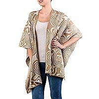 Reversible alpaca blend ruana, 'Ivory Rivers' - Peruvian Brown and Beige Alpaca Blend Ruana Cape